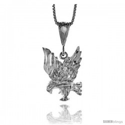 Sterling Silver Eagle Pendant, 7/8 in