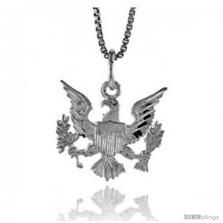 Sterling Silver Presidential Eagle Pendant, 5/8 in