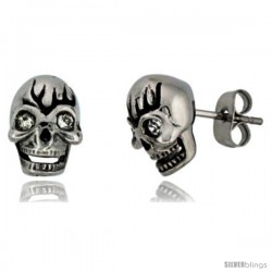 Stainless Steel Skull Stud Earrings w/ Crystal Eyes, 1/2 in tall