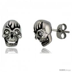 Stainless Steel Skull Stud Earrings w/ Crystal Eyes, 1/2 in tall
