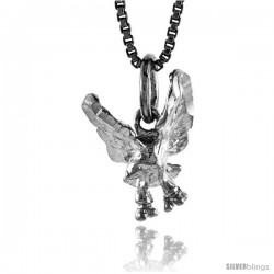 Sterling Silver Small Eagle Pendant, 1/2 in
