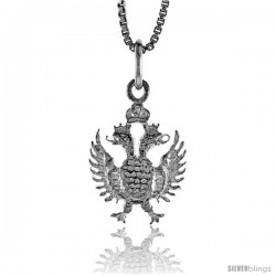 Sterling Silver 2-Headed Eagle Pendant, 3/4 in