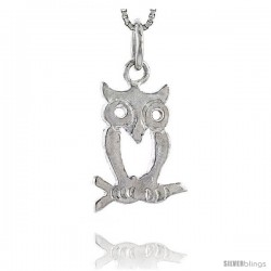 Sterling Silver Owl Pendant, 3/4 in -Style 4p285