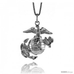 Sterling Silver U.S. Marines Eagle Globe & Anchor EGA Pendant, 1 1/8 in tall