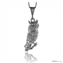 Sterling Silver Large Owl Pendant, 1 1/2 in