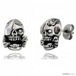 Stainless Steel One-Eyed Skull & Cross Bones Stud Earrings, 1/2 in tall