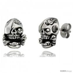 Stainless Steel One-Eyed Skull & Cross Bones Stud Earrings, 1/2 in tall