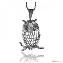 Sterling Silver Large Owl Pendant, 1 1/4 in