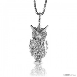 Sterling Silver Owl Pendant, 3/4 in -Style 4p293