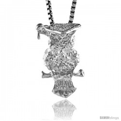 Sterling Silver Owl Pendant, 5/8 in tall