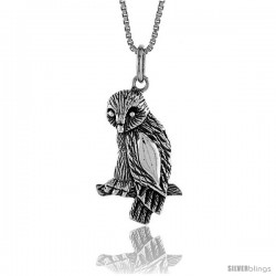 Sterling Silver Owl Pendant, 1 in