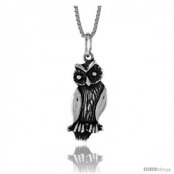 Sterling Silver Owl Pendant, 7/8 in