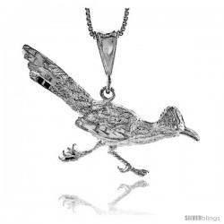 Sterling Silver Roadrunner Pendant, 1 3/4 in wide