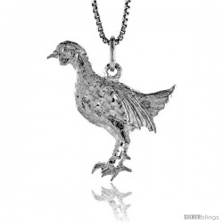 Sterling Silver Chicken Pendant, 7/8 in