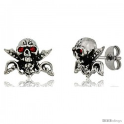 Stainless Steel Skull & Crossed Swords Stud Earrings w/ Red Stone Eyes, 1/2 in (11 mm)
