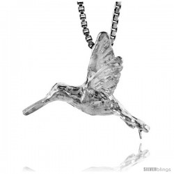 Sterling Silver Hummingbird Pendant, 5/8 in tall