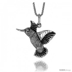 Sterling Silver Hummingbird Pendant, 3/4 in tall