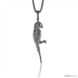 Sterling Silver Parrot Pendant, 1 in tall