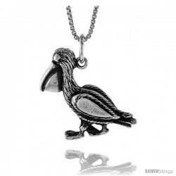 Sterling Silver Pelican Pendant, 3/4 in tall