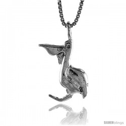 Sterling Silver Pelican Pendant, 3/4 in Tall -Style 4p306