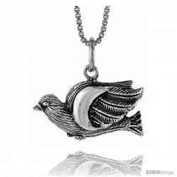 Sterling Silver Dove Pendant, 1/2 in Tall