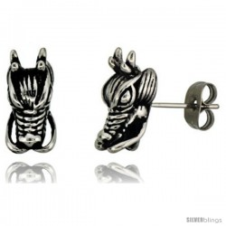 Stainless Steel Dragon Head Stud Earrings, 1/2 in tall