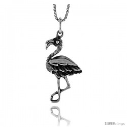 Sterling Silver Flamingo Pendant, 1 1/8 in Tall