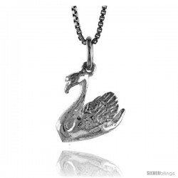 Sterling Silver Swan Pendant, 1/2 in Tall