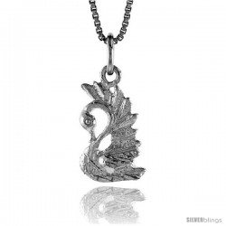 Sterling Silver Swan Pendant, 5/8 in Tall