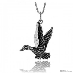 Sterling Silver Duck Pendant, 1 in Tall