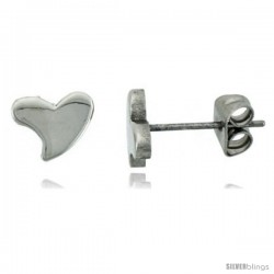 Small Stainless Steel Hearts Stud Earrings, 1/4 in high
