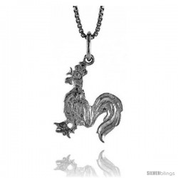 Sterling Silver Rooster Pendant, 3/4 in Tall