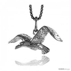Sterling Silver Sea Gull Pendant, 1/2 in Tall