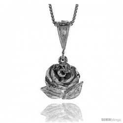 Sterling Silver Rose Pendant, 5/8 in Tall