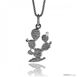 Sterling Silver 3 Cactus Pendant, 3/4 in Tall