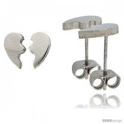 Small Stainless Steel Split Heart / Mizpah Stud Earrings 3/8 in high -Style Ess13