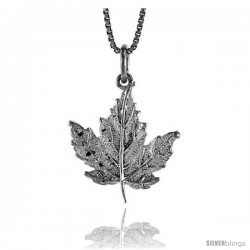 Sterling Silver Maple Leaf Pendant, 3/4 in Tall