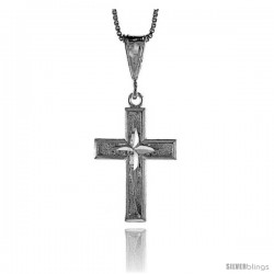 Sterling Silver Cross Pendant, 1 1/8 in