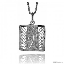 Sterling Silver Square Filigree Pendant, 5/8 in Tall