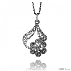 Sterling Silver Floral Filigree Pendant, 1 in Tall