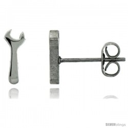 Small Stainless Steel Wrench Stud Earrings, 1/2 in High