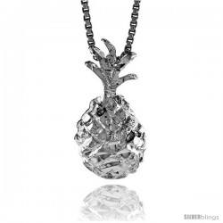 Sterling Silver Pineapple Pendant, 3/4 in Tall