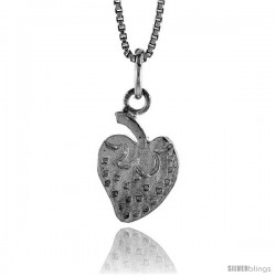 Sterling Silver Strawberry Pendant, 1/2 in Tall