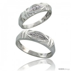10k White Gold Diamond Wedding Rings 2-Piece set for him 6 mm & Her 5 mm 0.05 cttw Brilliant Cut -Style 10w021w2