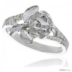 Sterling Silver Floral Ring Polished finish 3/8 in wide -Style Ffr437