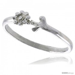 Sterling Silver Teeny Sunflower Ring Polished finish