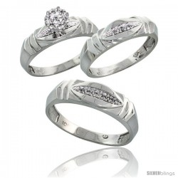 10k White Gold Trio Engagement Wedding Rings Set for Him & Her 3-piece 6 mm & 5 mm wide 0.09 cttw Brilliant Cut