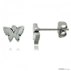 Small Stainless Steel Butterfly Stud Earrings, 1/4 in high