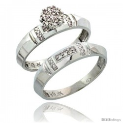10k White Gold Diamond Engagement Rings Set 2-Piece 0.07 cttw Brilliant Cut, 5/32 in wide -Style 10w022e2