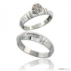10k White Gold Diamond Engagement Rings 2-Piece Set for Men and Women 0.08 cttw Brilliant Cut, 4mm & 5.5mm wide